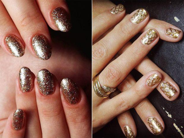 дизайн ногтей на новый год 2019: золотой с полосками