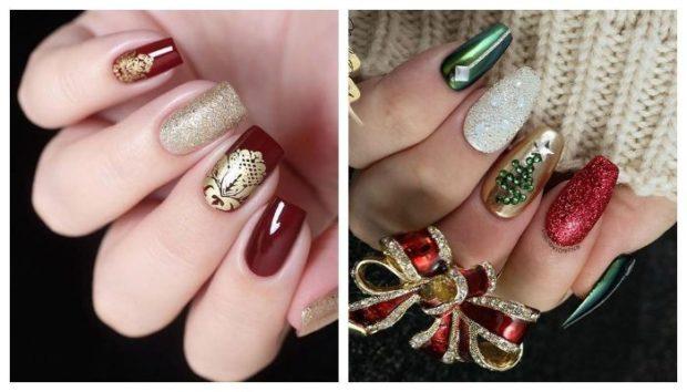 красные ногти с золотом ногти яркие зеленый красные золотой белый