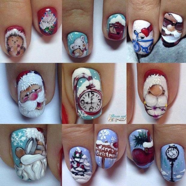 новогодние рисунки на ногтях дед мороз часы елки мишки
