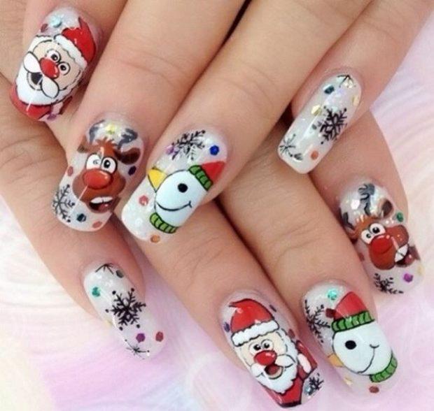 рисунки на ногтях дед мороз олень снеговик снежинка