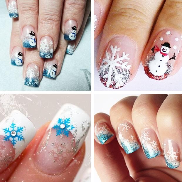 маникюр рисунки на новый год: снеговики на ногтях снежинки