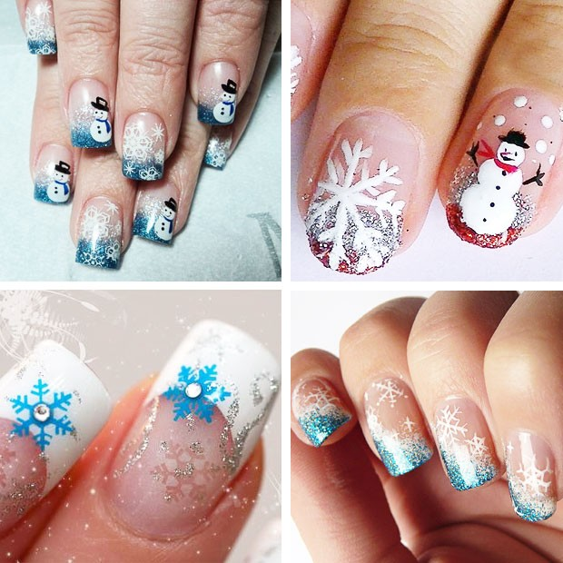 снеговики на ногтях снежинки