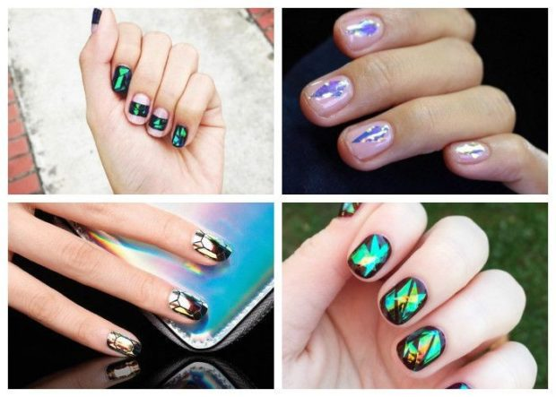 дизайн ногтей на новый год с камифубуки зеленые сиреневые