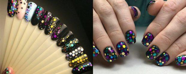 черные ногти цветные комификубики