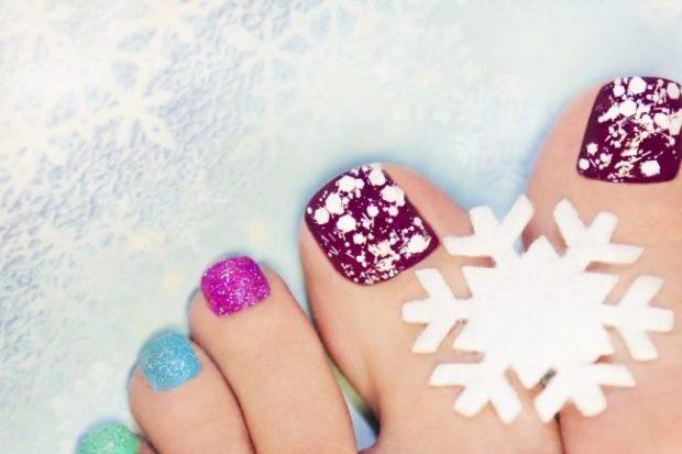 ногти фиолетовые синие со снежком