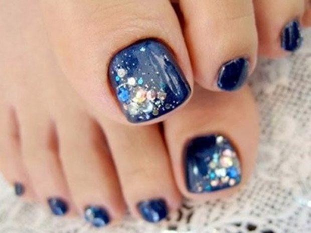 синие ногти с камифубуки