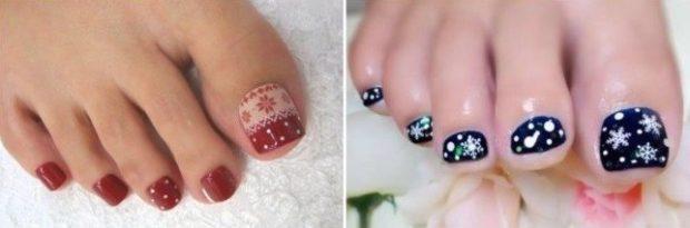 синие и красные ногти со снежинками