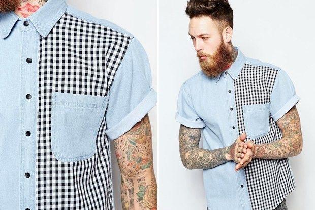Модная одежда для мужчин 2019-2020: рубашка короткий рукав половина синяя половина в клетку