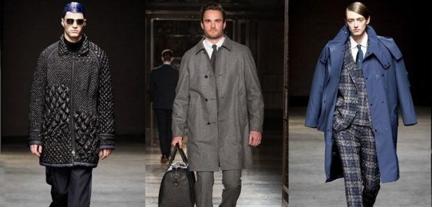 одежда для мужчин: пальто серые оверсайз синее костюм в клетку