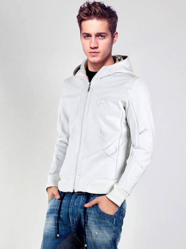 Модная одежда для мужчин: спортивная кофта серая джинсы