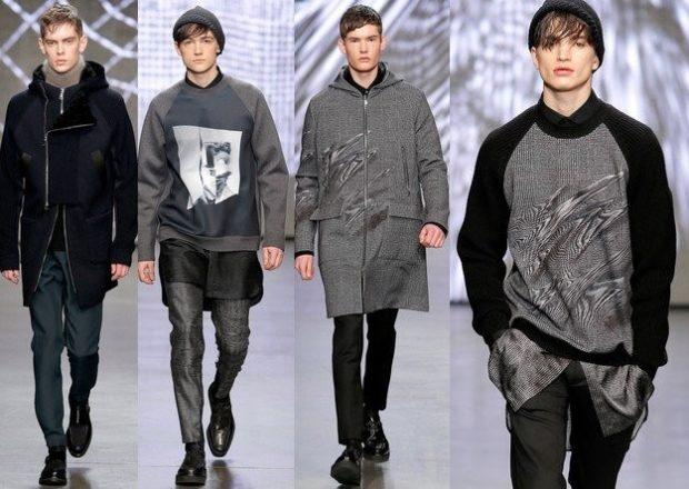 Модная одежда для мужчин: пальто кэжуал серые под брюки