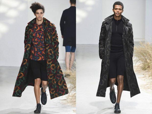Модная одежда для мужчин: пальто макси в принт пальто серое в узор