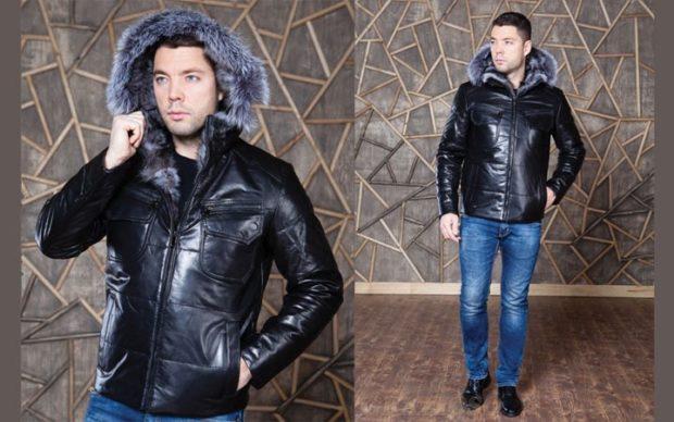 куртка короткая кожаная с капюшоном
