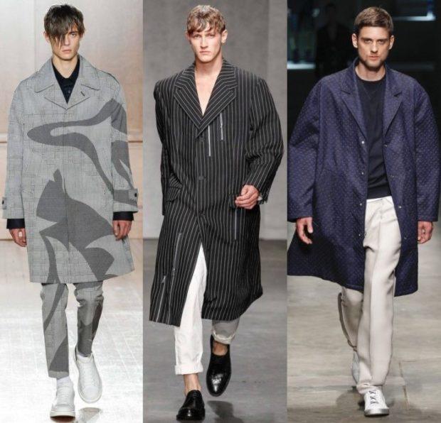 пальто оверсайз серое с узором в полоску черное с белым синее