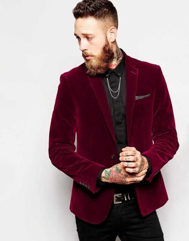 бархатный пиджак бордовый