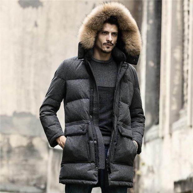 куртка зимняя серая оверсайз с капюшоном