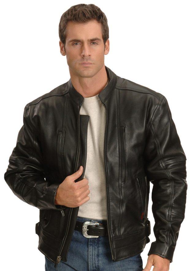 куртка кожаная черная короткая