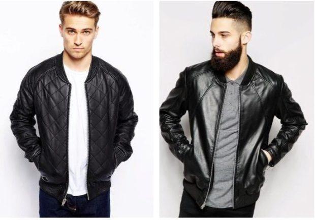 кожаная куртка черная стеганая кожаная классика короткая