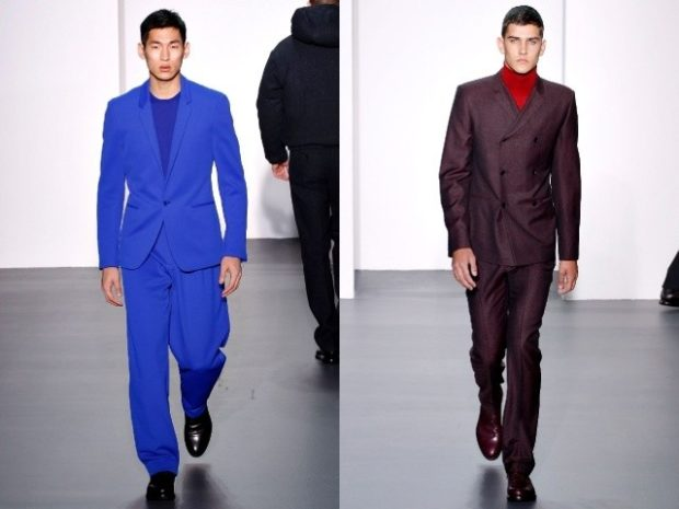синий костюм брючный бордовый