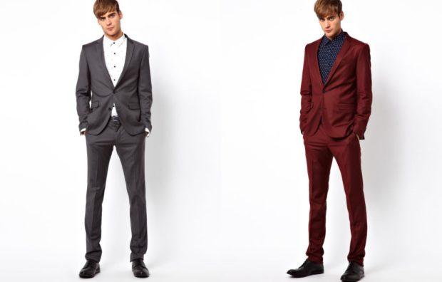 костюм серый бордовый