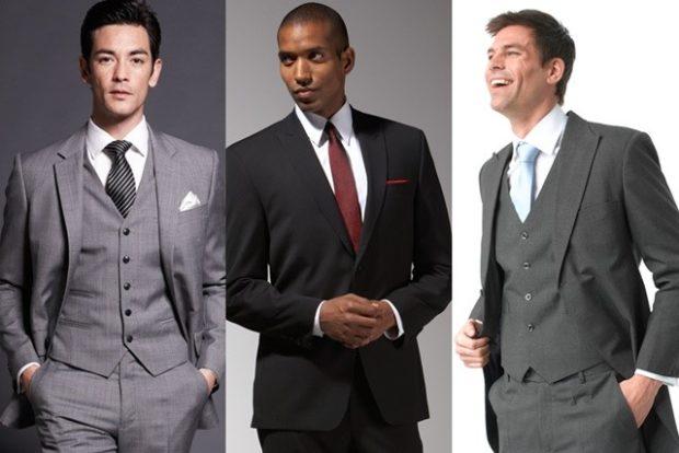 костюм тройка черный серый тройка