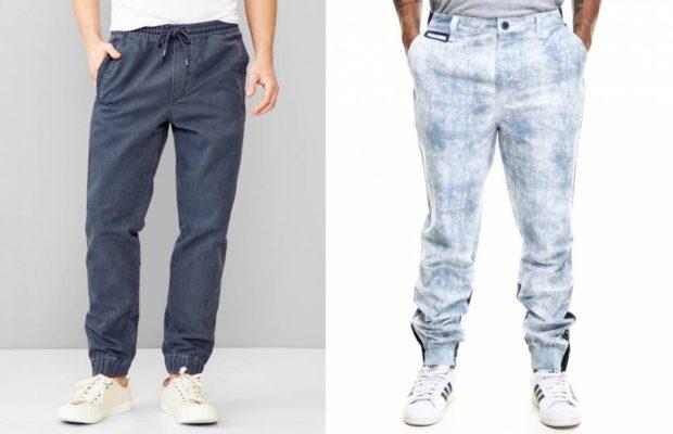 брюки джоггеры серые синие потертые