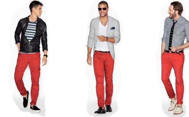 красные штаны кэжуал