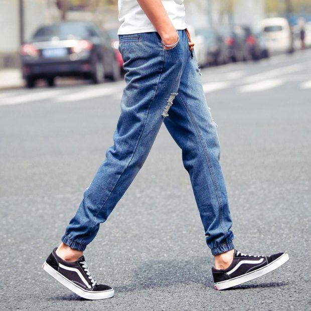 джинсы синие на резинке