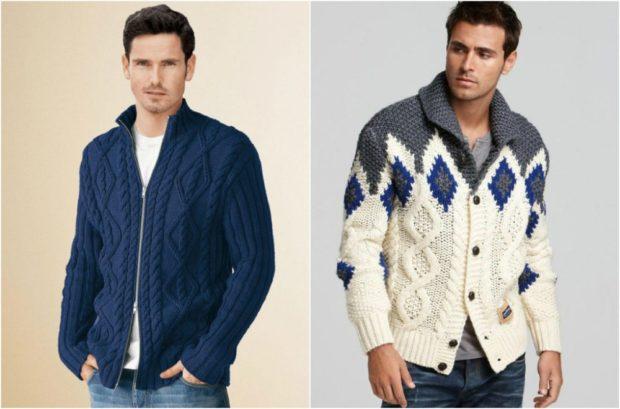 свитер вязанный с узором белый с ромбами синими