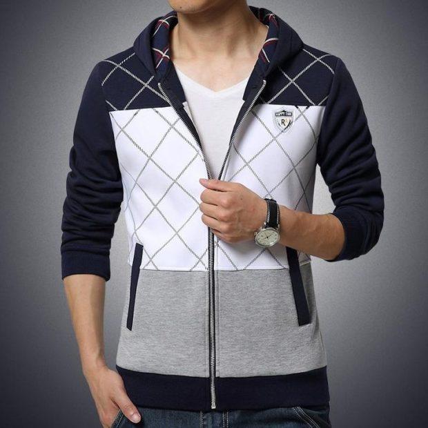 свитер с ромбами серо-бело-черный