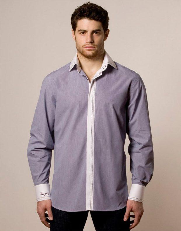 рубашка классика светло-сиреневая с белыми полосками