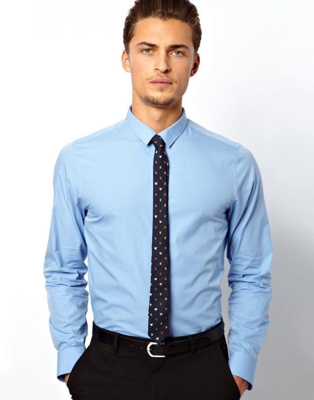 голубая рубашка классика