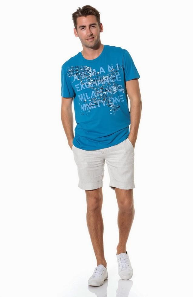 Модная одежда для мужчин 2019-2020: летний стиль шорты белые футболка синяя