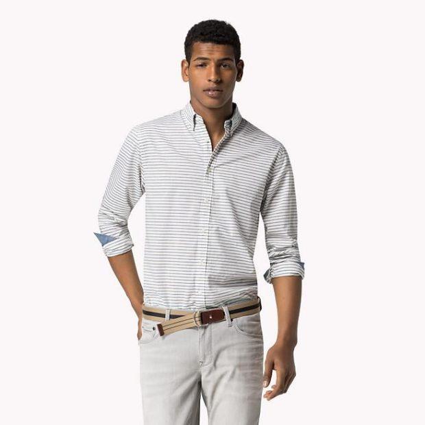 Модная одежда для мужчин 2019-2020: рубашка белая в полоску горизонтальную