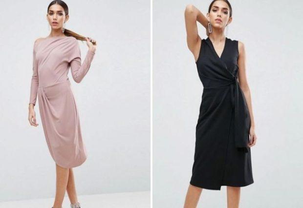 офисное платье 2019-2020: светлое с длинным рукавом черное с запахом без рукавам