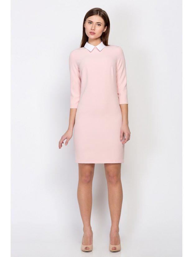 офисные платья: светлое рукав 3/4 с белым воротничком