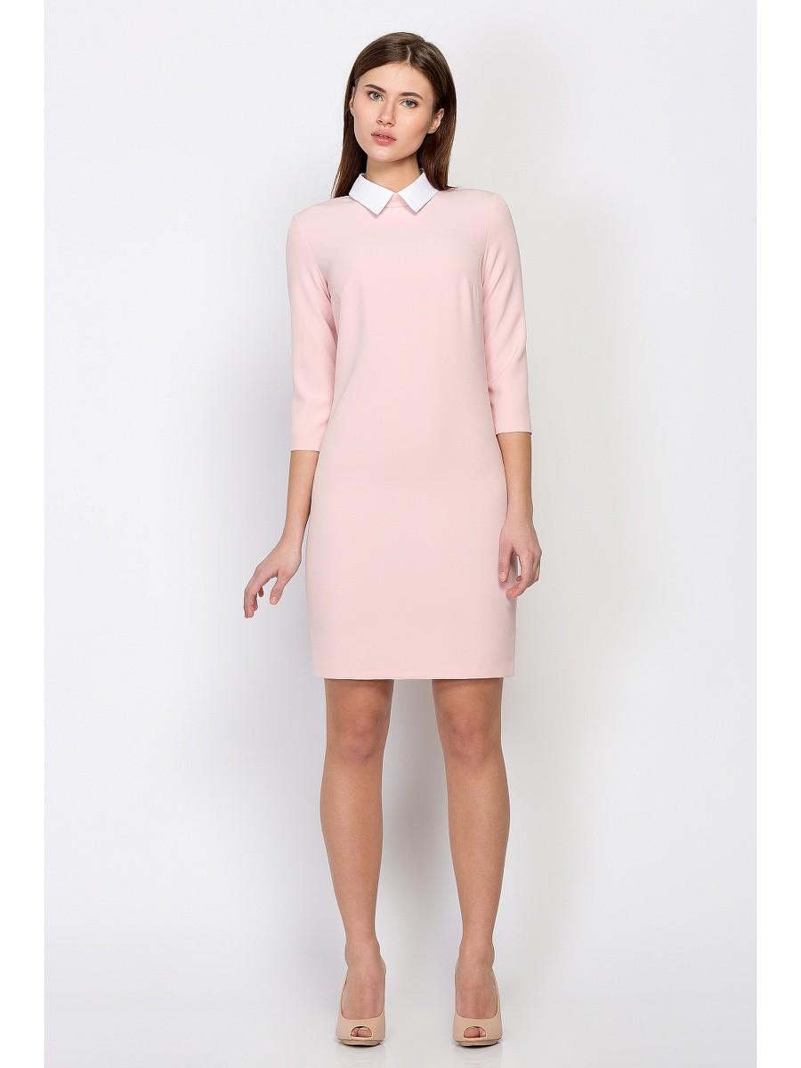 офисное платье светлое рукав 3/4 с белым воротничком