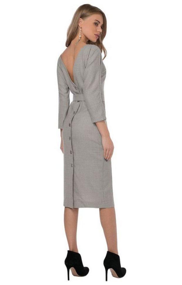 офисные платья: серое с вырезом на спине пуговицами по всей длине