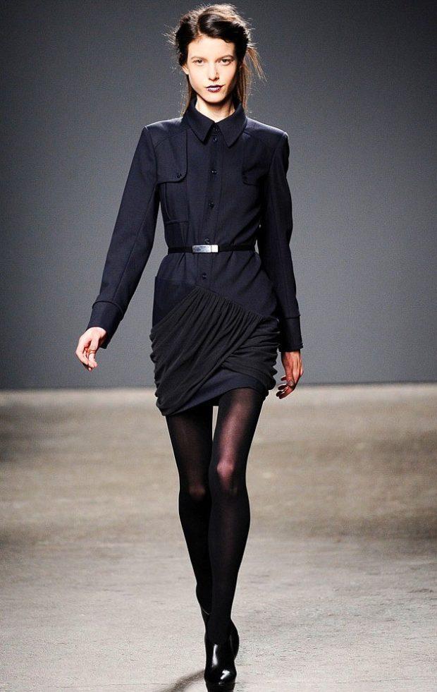 офисное платье черное короткое рукав длинные с пояском