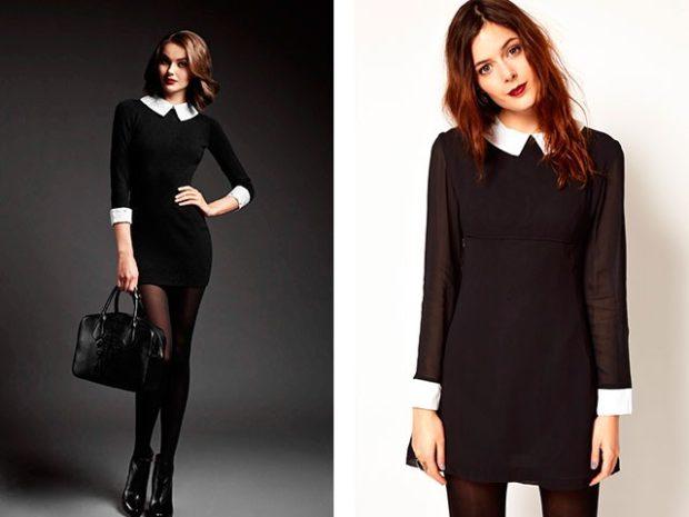 офисные платья: черное короткое с белым воротничком свободное с шифоновым рукавом