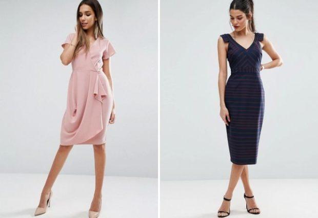 офисные платья: розовое с запахом черное миди без рукава