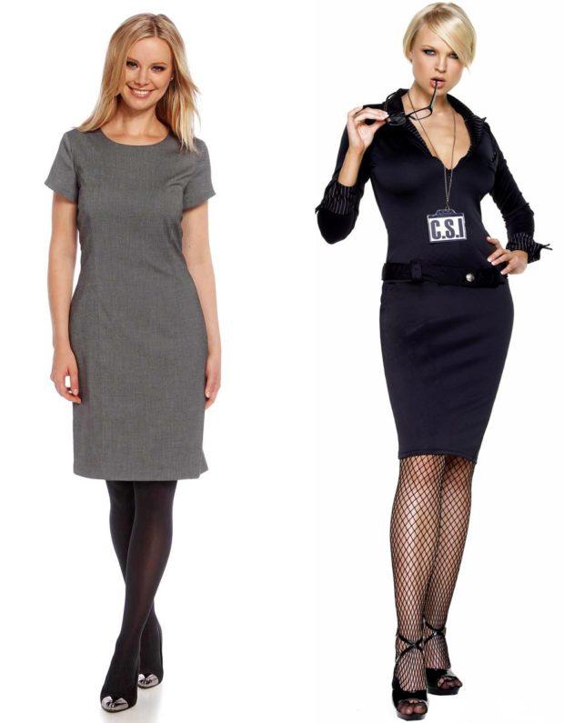 офисные платья: серое рукав короткий черное по фигуре длинный с декольте