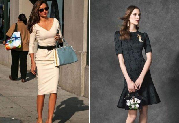 офисные платья: миди рукав 3/4 черное рукав короткий с воланами