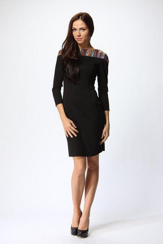 офисные платья: прямое рукав 3/4 плечи полосатые