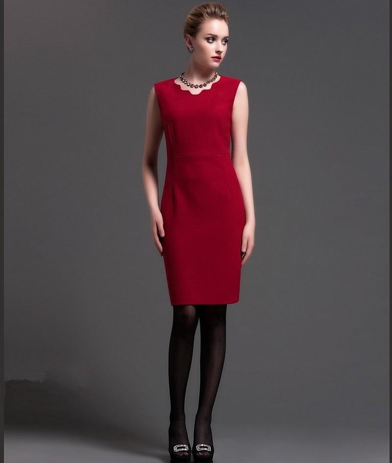 офисное платье красное футляр без рукава