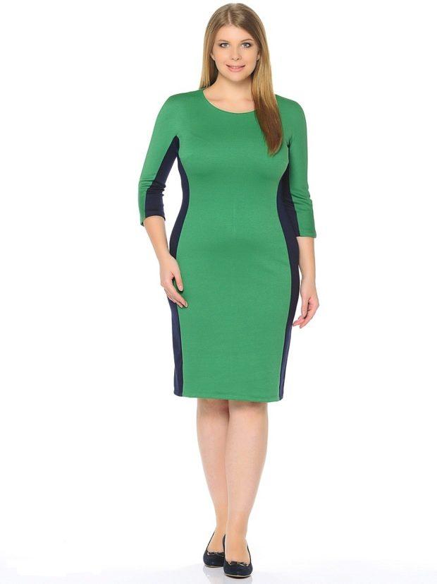 офисные платья: зеленое по колено с черными вставками