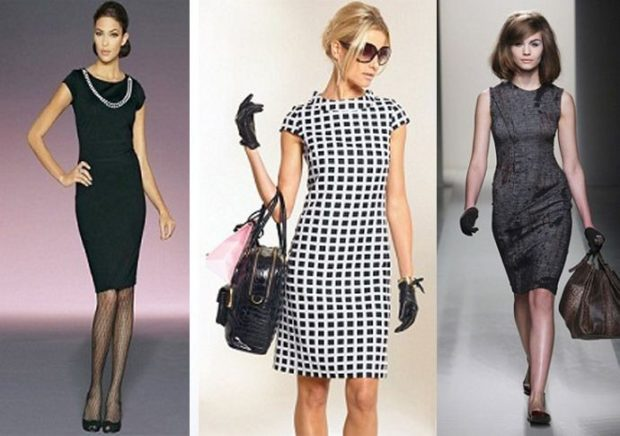офисное платье черное без рукава короткое в клетку белое с черным короткий рукав серое