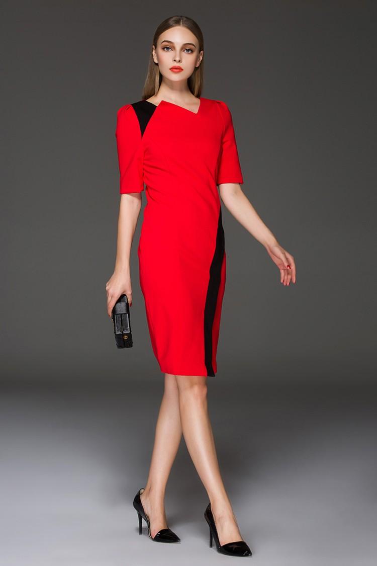офисное платье красное с рукавом 3/4 с черными вставками