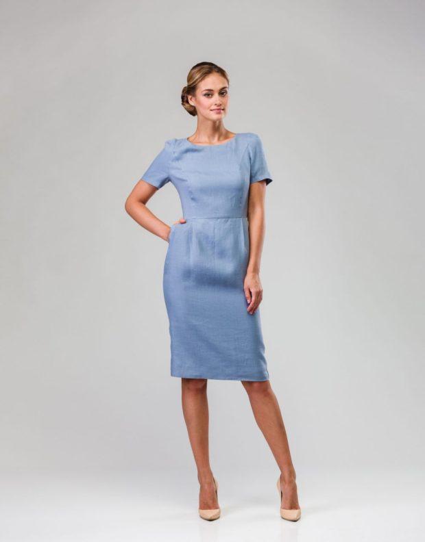 офисное платье 2018-2019: серое рукав короткие