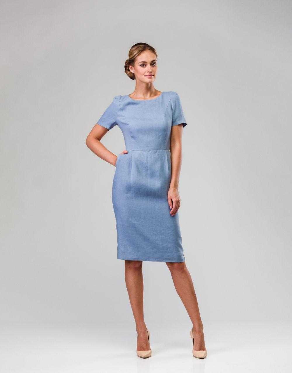 офисное платье серое рукав короткие